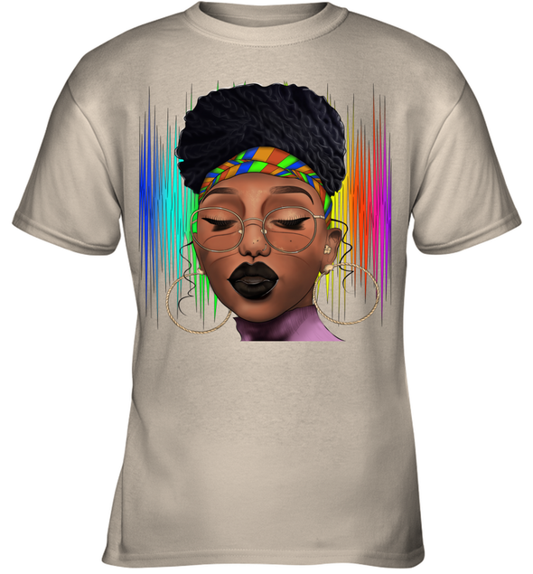 Black Woman Afro Natural Hair Headwraps Dreadlocks Pride Youth T-Shirt