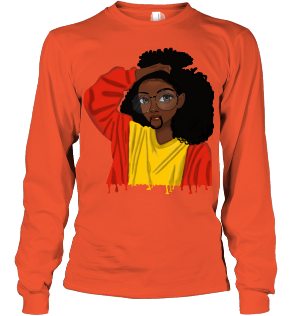 Black Girl Curly Hair - Cute Black Girl Curly Afro Youth Long Sleeve