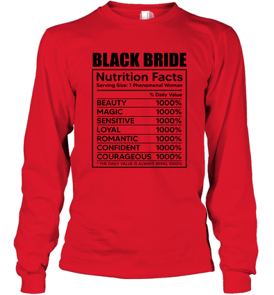 Black Bride Nutrition Facts Long Sleeve T-Shirt