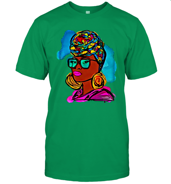 Afro Black Women Art - Headwrap Colorful Style T-Shirt