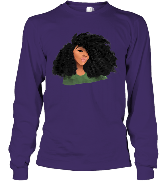 Black Curls Art - Afro Curly Girl Youth Long Sleeve