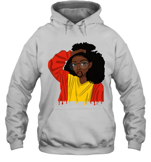 Black Girl Curly Hair - Cute Black Girl Curly Afro Hoodie