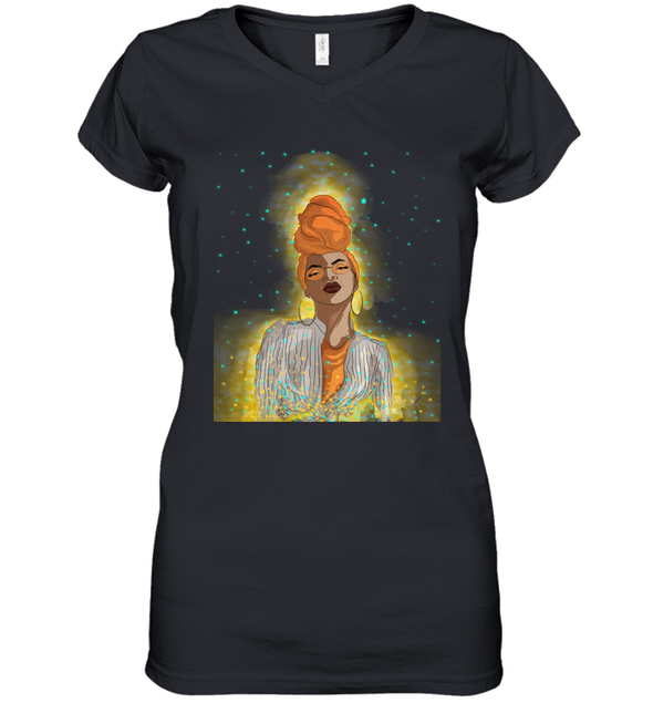 Black Girl Headwrap Art - Beauty Magic Headwraps Women's V-Neck T-Shirt
