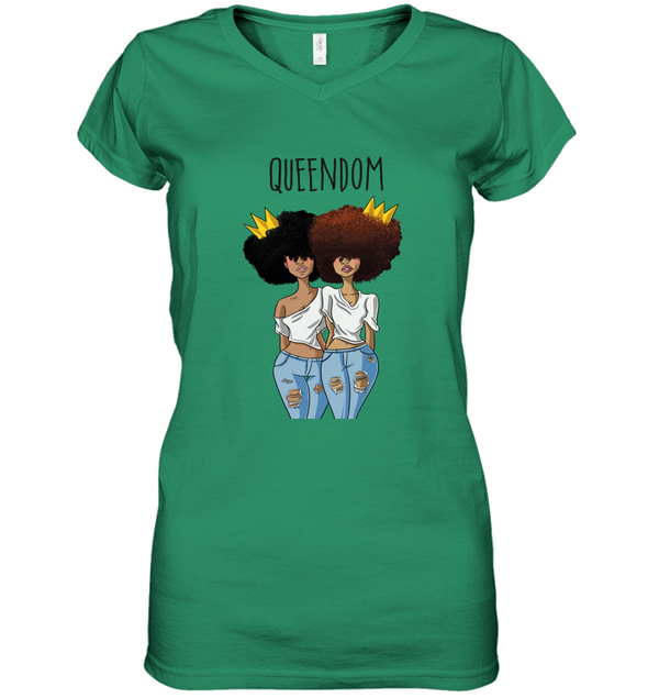 Black Queen Art - Friends Natural Hair QUEENDOM Women's V-Neck T-Shirt