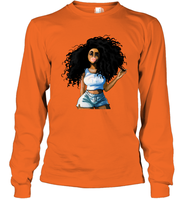Black Women Art - Afro Curly Bubble Girl Long Sleeve T-Shirt