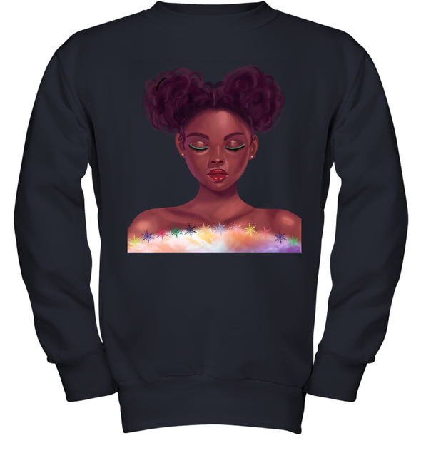 Black Girl Natural Hair - Cute Curls Girl Youth Sweatshirt