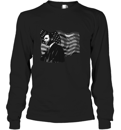Martin Luther King American Flag Long Sleeve T-Shirt