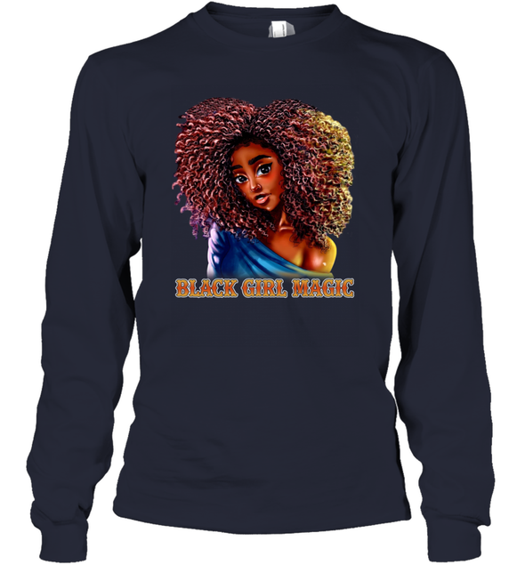 Black Girl Magic Art - Sexy Sweatie Cute Curls Girl Youth Long Sleeve