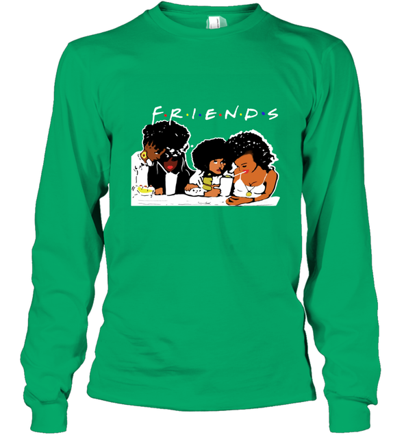 African American Black Friends With Afro Melanin Poppin Girls Party Long Sleeve T-Shirt