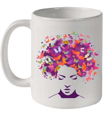 Women Natural Hair Apparel Butterfly Colorful Style Mug