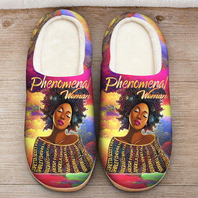 Black Women Art - Black History Phenomenal Woman Slipper