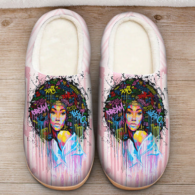 Black Women Artwork - Natural Afro Colorful Word Art Slipper