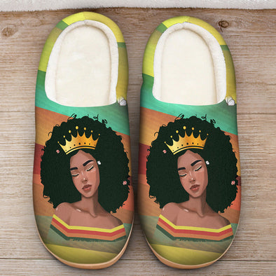Black Girl Magic Art - Afro Melanin Poppin Queen Retro Slipper