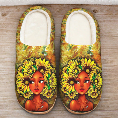 Black Girl Art - Black Beauty Girl Sun Flower Hair Style Slipper