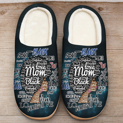 Afro Mom Words Art - Love Black Afro Mom Natural Slipper
