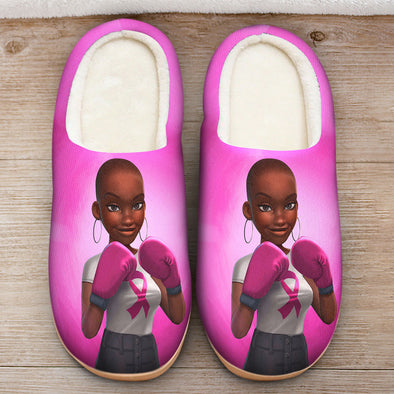 Breast Cancer Awareness Art - Black Women Are Fighters Slipper