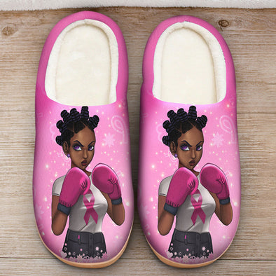 Breast Cancer Awareness Art - Dreadlocs Are Fighters Slipper