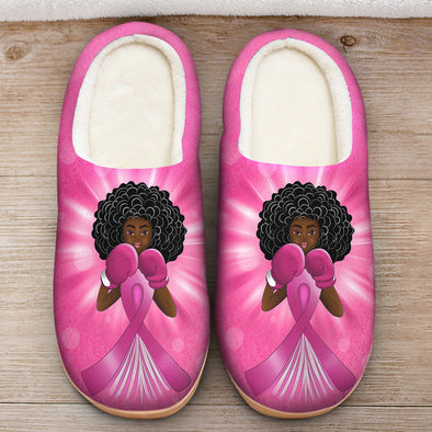 Breast Cancer Awareness Art - Black Angel Fighter Slipper