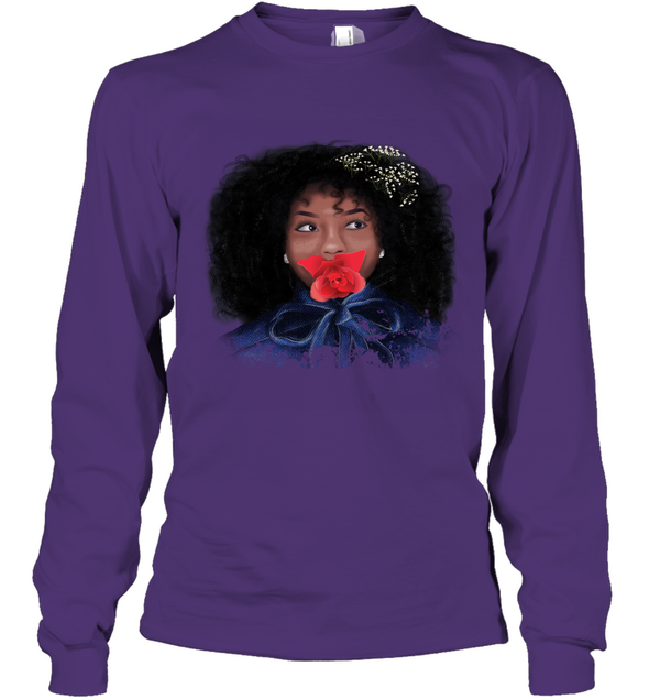 Afro African Blue Art - Rosy Atractive Afro Black Girl Long Sleeve T-Shirt