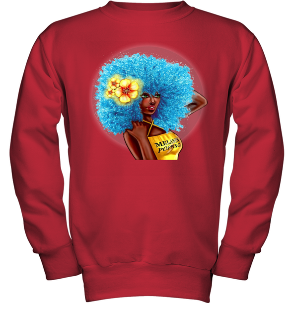 Black Women Art - Blue Melanin Poppin Fro Youth Sweatshirt