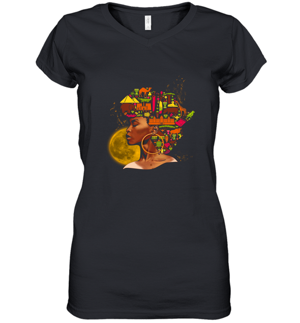 African Women Art - Black African Women Colorful Art Women's V-Neck T-Shirt