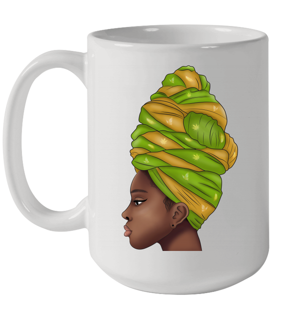 Angela Green Yellow Flower Headwraps Women African Wear Art Mug
