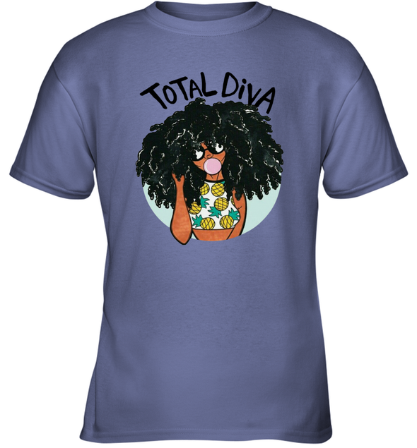 Magic Black Girl - Total Diva Afro Natural Pineapple Youth T-Shirt