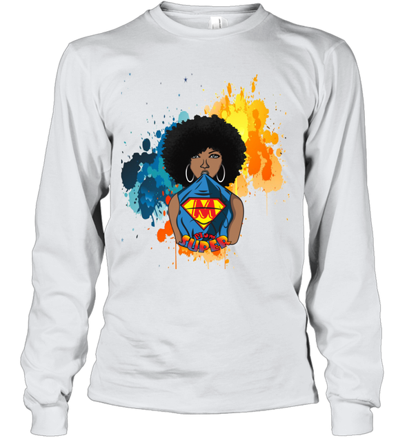 Mother's Day Gift - Afro Natural Black Super Mom Youth Long Sleeve