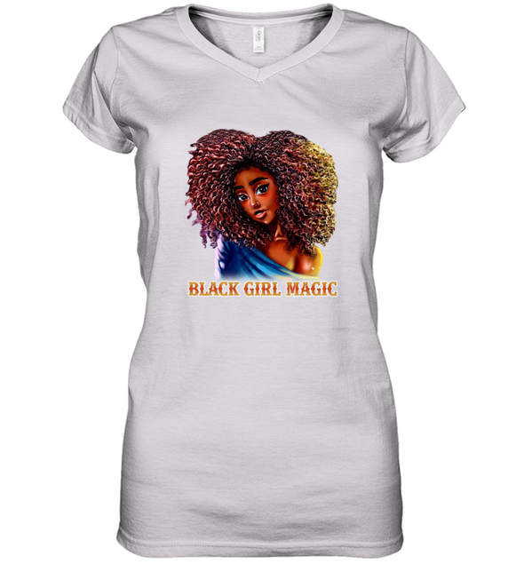 Black Girl Magic Art - Sexy Sweatie Cute Curls Girl Women's V-Neck T-Shirt