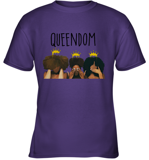 African American Women Art Black Queendom With Afro Melanin Poppin Hair Care Youth T-Shirt