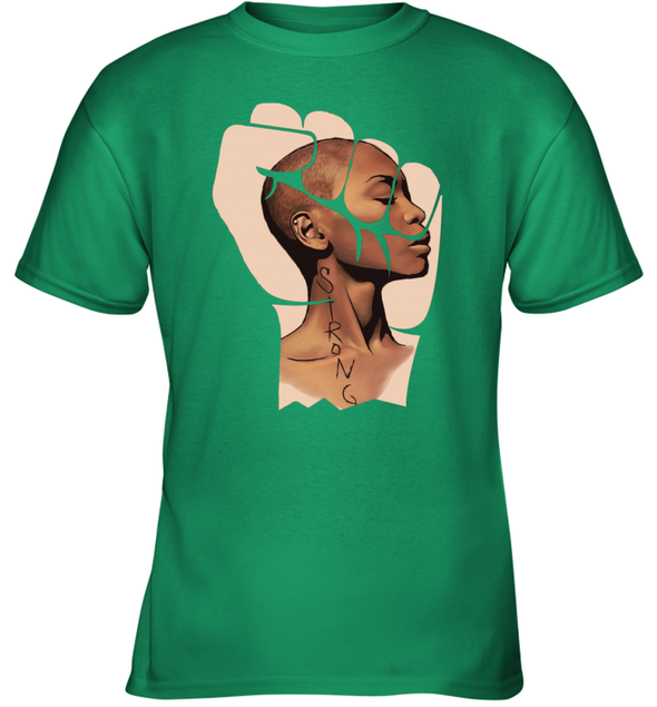 Black Women Art - Strong Afro Natural Short Hair Art Youth T-Shirt