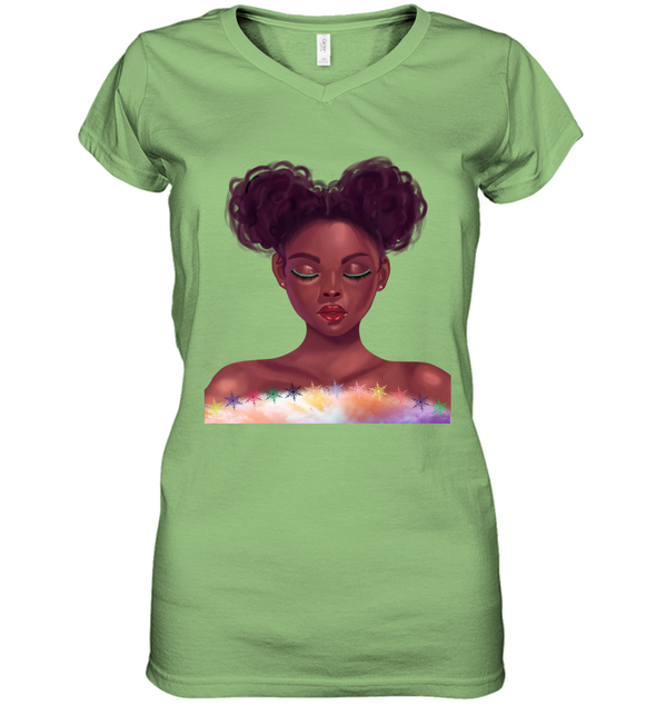 Black Girl Natural Hair - Cute Curls Girl Women's V-Neck T-Shirt