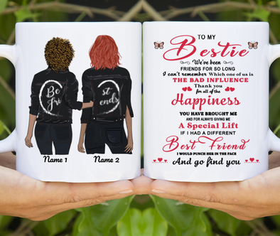 To My Bestie Forever Friends Sister Personalized Mug Custom Name Female Model Message Gift Ideas Mug