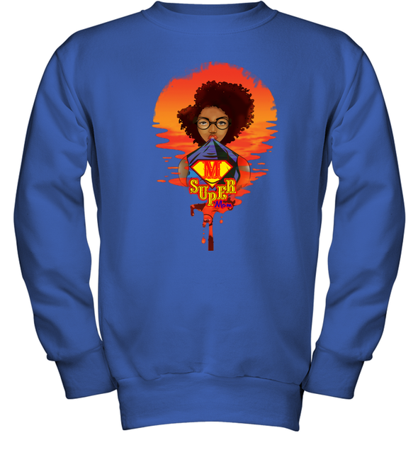 Mother's Day Present - Afro Kinky Curly Super Mom Youth Sweatshirt