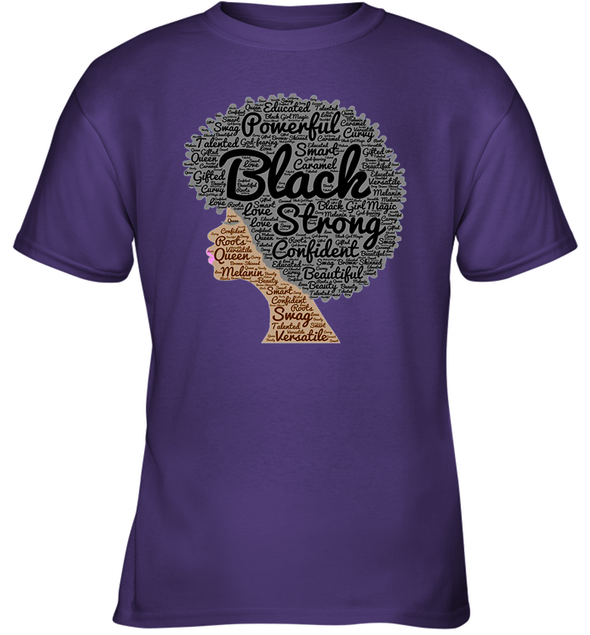 Naptural Hair Art - Afro Black Strong Youth T-Shirt