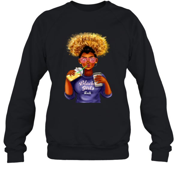 Black Girl Art - Afro Black Girls Rock Sweatshirt