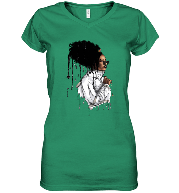 Afro African Headwrap Art - Headwrap Melting Style Women's V-Neck T-Shirt