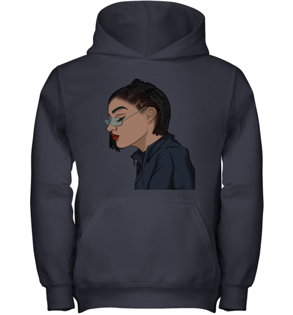 Black Cool Art - Freaking Cool Girl Dreadlock Short Hair Youth Hoodie