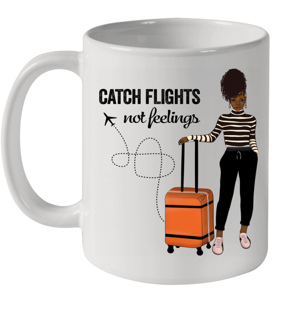 African American Women With Afro Headwraps Catch Flights Not Feelings Mug
