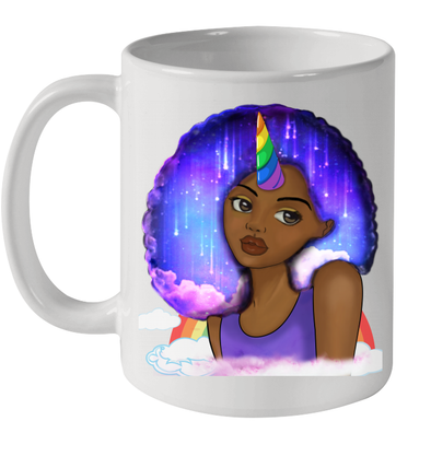 Afro Natural Unicorn Black Girl African Artwork Mug