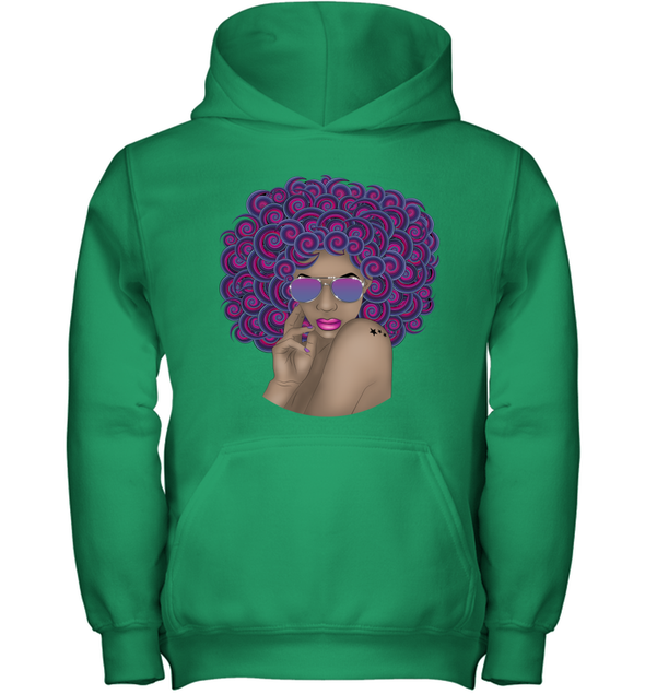 Afro Black Women Art - Afro Curly Woman Curly Hair Don't Care Youth Hoodie