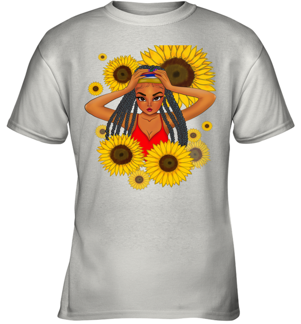 African Locs Style Art - Dreadlocks Cute Little Girl Sunflower Youth T-Shirt