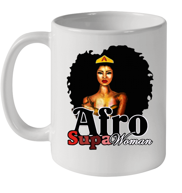 Afro Natural Hair Super Woman Mug