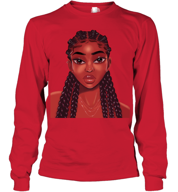 Natural Hair Goals Art Locs Long Hair Colorful Lovely Black Girl Youth Long Sleeve