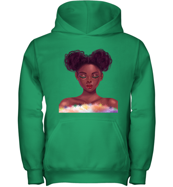 Black Girl Natural Hair - Cute Curls Girl Youth Hoodie