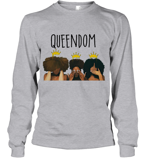 African American Women Art Black Queendom With Afro Melanin Poppin Hair Care Youth Long Sleeve