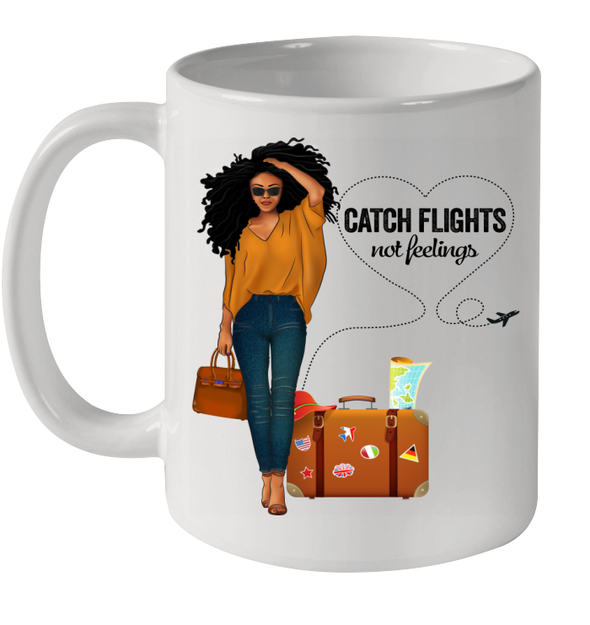 African American Women Long Hair Dreadlock Catch Flights Not Feelings Mug