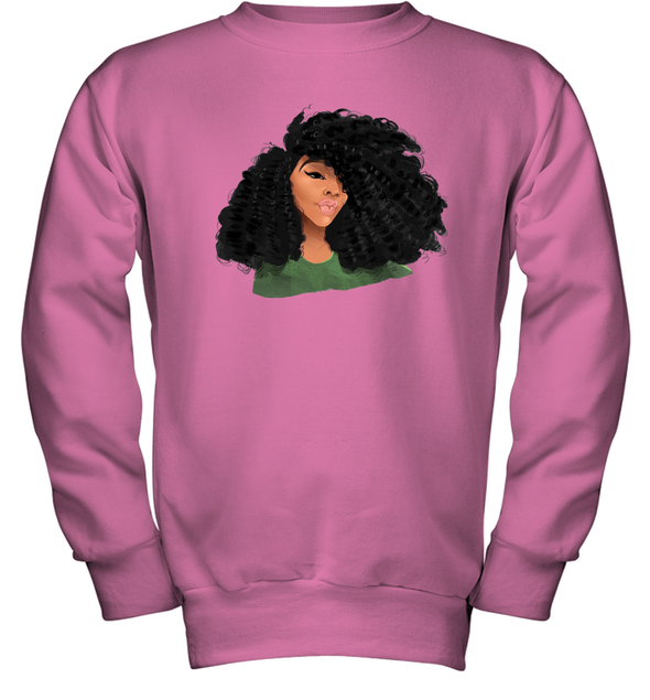 Black Curls Art - Afro Curly Girl Youth Sweatshirt