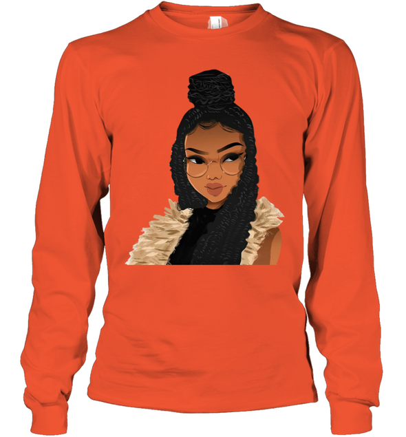 Black Women Art - Afro Locs And Braids Youth Long Sleeve
