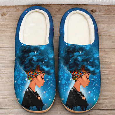 Afro Black Women Art - Headwrap Colorful Style Slipper